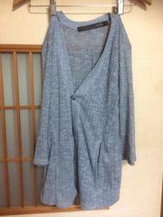 七分袖青かぎあみカーデM*クリックポスト185円