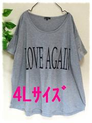 夏新作☆大きいサイズ☆4Lグレー☆前英字☆ゆったりチュニックTシャツ