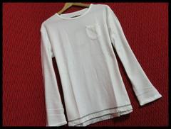 裾フリンジツイストスラブニットソー Tシャツ O/WH/L