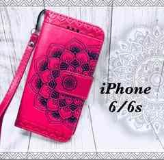 iPhone6/6s 手帳型ケース光沢 ストラップ +液晶フィルム ピンク