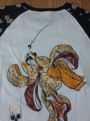 ★USED[花旅楽団]刀娘にドクロ七分袖Tシャツ スカジャン好きにも