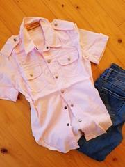 *COCOLULU ロゴ刺繍コットンワークシャツ*108