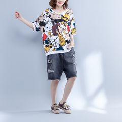 大きいサイズ☆総柄Tシャツ F〜