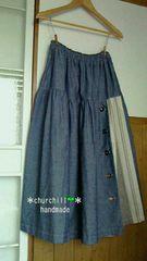 《handmade》c.綿ダンガリー×織柄ストライプ*巻きスカ風ティアードスカート4L