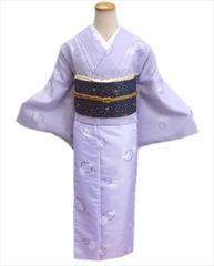 洗える袷着物と軽装帯(付け帯)セット薄紫地雪輪うさぎLL(トールサイズ)