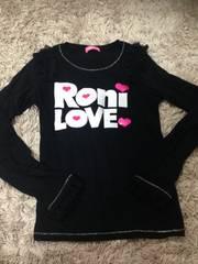 RONI・肩フリルデカロゴロンT・黒ML