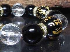 十二支梵字オニキス16ミリ128水晶オニキス14ミリ
