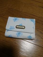 新品未使用☆ELLEPLANETE3つ折財布☆クリーム×ブルー花柄☆