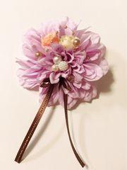 薄紫ダリアパールリボン花が豪華で可愛い2wayコサージュ入学式に