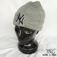 NYヤンキース ニューヨーク ニットキャップ グレー MLB B系 758