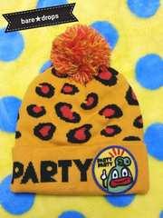 中古美品【PARTYPARTYパーティーパーティー】52~54ヒョウ柄ニット帽子キャップ男女