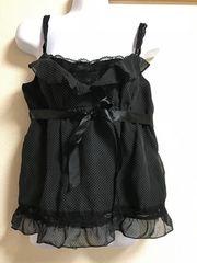 ★黒×ドット柄 サテンリボン付キャミ  9AR★