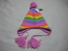 wb316 女 BILLABONG ビラボン ボンボン 耳当て付き ニット帽