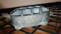 李朝…亀像巌鉛か鋳物花用置物