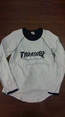 THRASHERスラッシャー×Health Knit/グレー×黒リバーシブルロングTシャツ/L