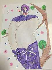 自作イラスト.脚太め.セ-ラ-サタ-ン.木の枝に座ってパンチラ