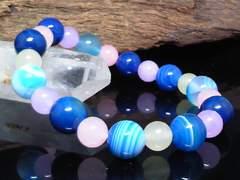 ブルーストライプアゲート10ミリ§クォーツァイト8ミリ数珠