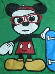 ディズニー ミッキーマウス デザイン プリント Tシャツ グリーン 4L デオドラント スケボー