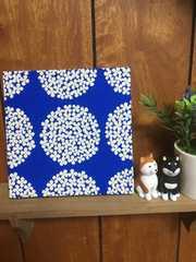 花サークル青☆木製ファブリックパネル♪15