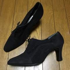 未使用 ニナリッチ 透け感 レザーパンプス オトナ女子 23.5 黒