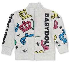 新品BABYDOLL☆カラフル王冠柄 ジップジャケット 140 グレー ベビードール