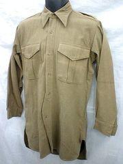 UK ヨーロッパ ミリタリー 裾長ウールシャツ デッド/ヴィンテージ
