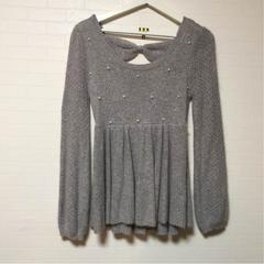 イング パール付きペムラムセーター