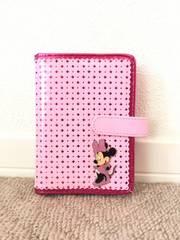 ミニーマウス エナメル素材 手帳カバー ピンク 未使用品
