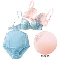 花柄刺繍マタニティブラ&ショーツセットピンクD75L新品