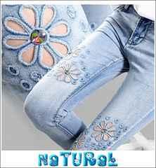 大きいサイズ【32】3L Flower刺繍ホール&ビジュ付デニム/ウォッシュ/七分丈