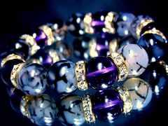 ドラゴンアゲート黒龍紋瑪瑙§アメジスト紫水晶§12ミリ§金ロンデル