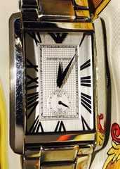 良品エンポリオアルマーニメンズ時計シルバーブレス箱付電池新品