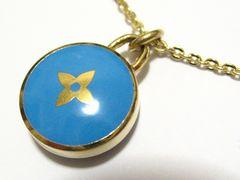 本物.ルイ.ヴィトン.シンボル十字架の爽やかブルー&ゴールドカラー極上高貴ネックレス