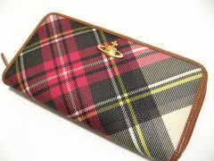 ヴィヴィアン・ウエストウッド最高に洒落たチェック柄.上質革のラウンドファスナー長財布