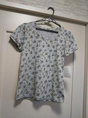 S ★リュリュRyuRyu 花柄パフスリーブ半袖Tシャツ水色カットソー
