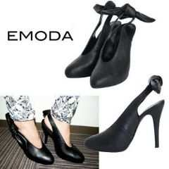 新品EMODABackリボンパンプスブラック S