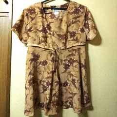 monica★新品★ゆったり系チュニック/花柄ブラウンS