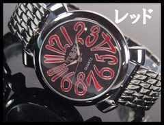 人気★T&Hメンズ腕時計メタルウォッチ★RED文字盤