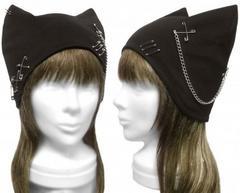 ハンドメイド◆パンク[チェーン&ピンクロス付] ネコ耳帽子◆黒