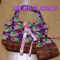 ハンドメイド*折りたたみトートバッグ×巾着ポーチ*和柄紫×カゴ