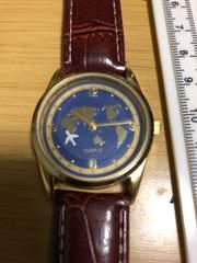 珍品 秒針が飛行機 ブルーフェイス腕時計