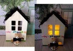 猫ちゃん 木のお家 LEDキャンドルライト 置物 インテリア♪