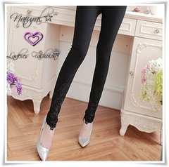新作★大きいサイズ2L 裾刺繍レース ストレッチレギパン*黒