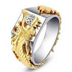 特A 彫刻 ゴールド ドラゴン リング 20号 ダイアモンド