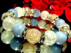 バラ彫ローズクォーツ§ブルーレースアゲート§クラック爆裂水晶§12ミリ§銀ロンデル