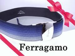 Ferragamo フェラガモ ブルーグラデーション ベルト 最長78cm 美品★dot