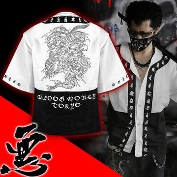 送料無料/ヤンキーチンピラオラオラ系和柄ベースボールシャツ/B系HIPHOP服15004-XL