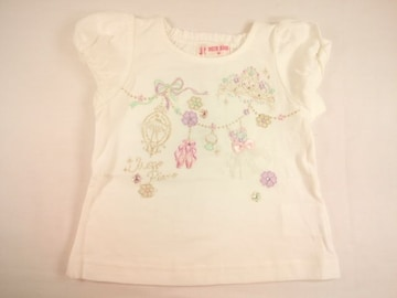 値下げセールメゾピアノベビーバレエチュチュドレスモチーフトゥシューズ刺繍半袖Tシャツ