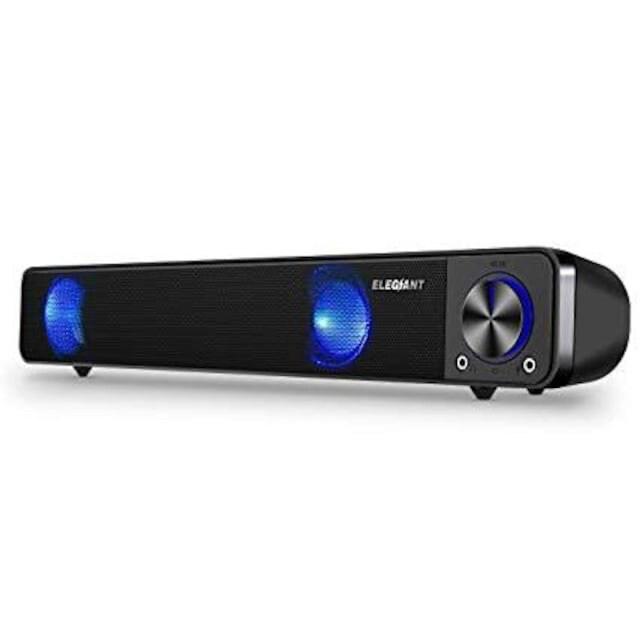 PCスピーカー ELEGIANT 高音質 大音量 小型 重低音 ホームシアタ  < PC本体/周辺機器の