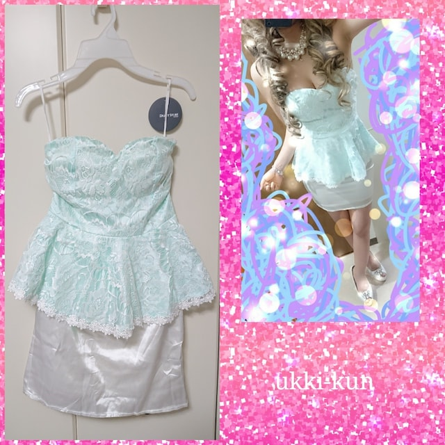 3003-06 新品未使用 総レースペプラムミニドレス ミント  < 女性ファッションの